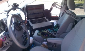 Shure SM7b mic mounted on spring-loaded boom in Chrysler mini-van